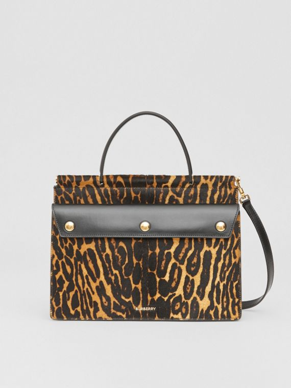 Small Leopard Print Title Bag with Pocket Detail in Black