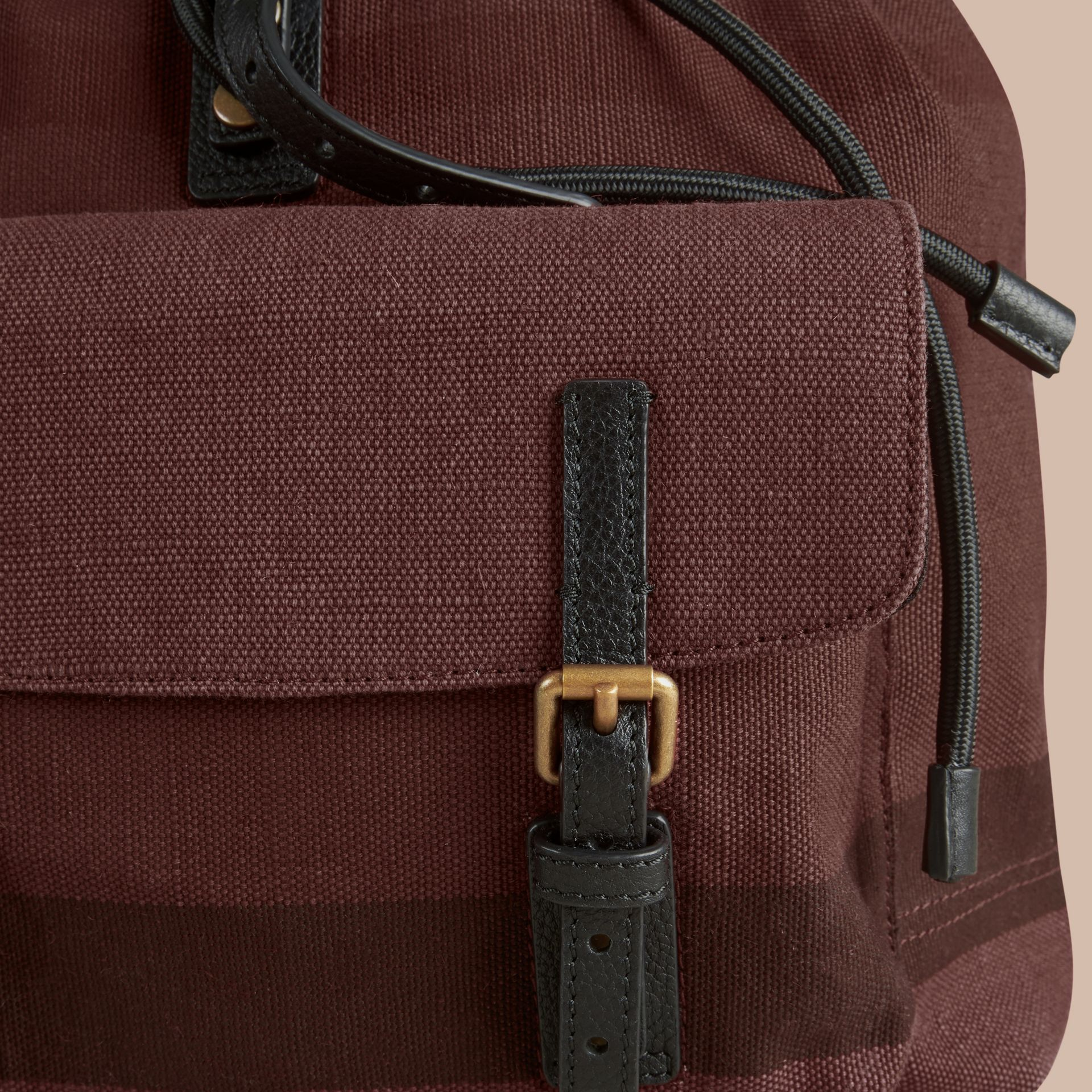 Claret Overdyed Canvas Check Backpack Claret - gallery image 2
