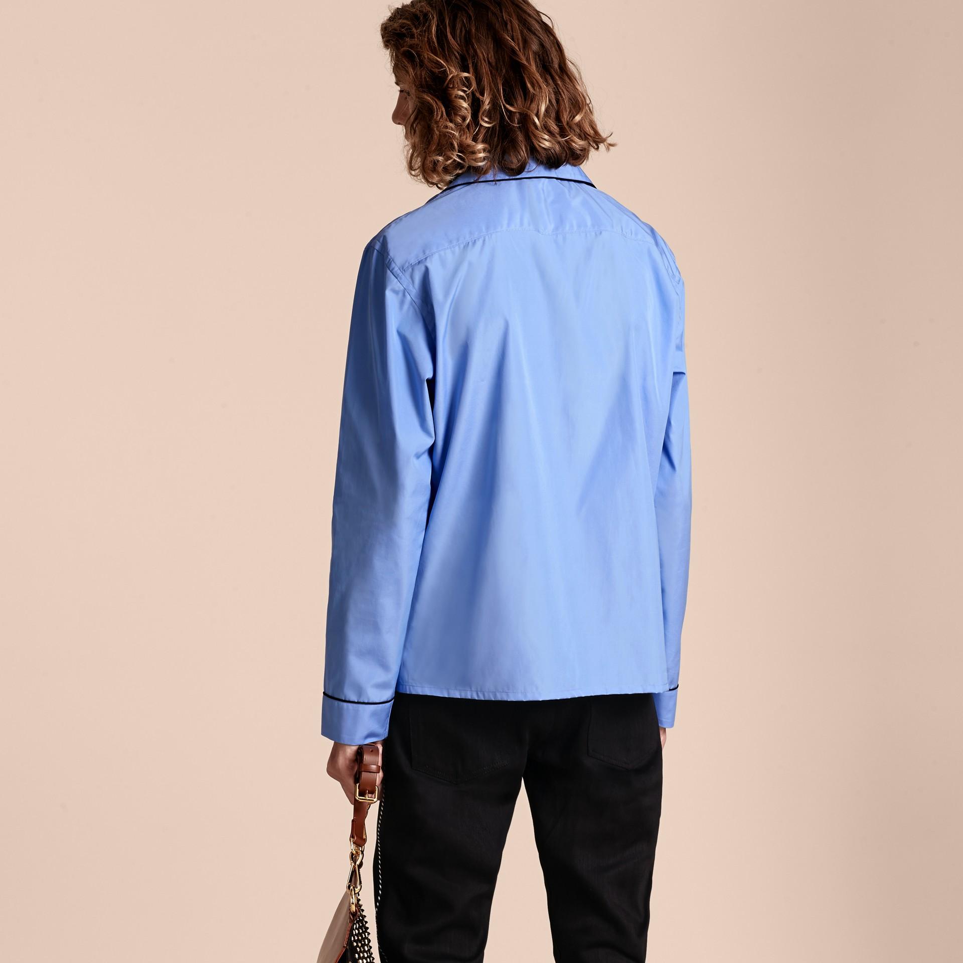 Mid blue Cotton Poplin Pyjama-style Shirt - gallery image 3