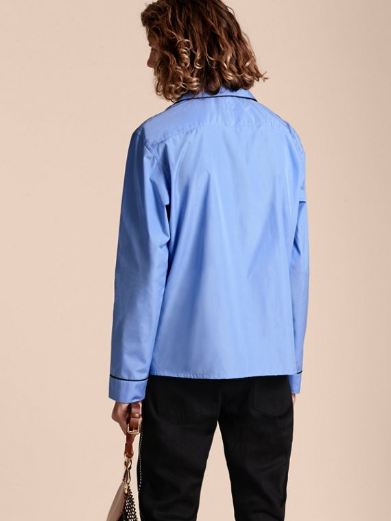 Mid blue Cotton Poplin Pyjama-style Shirt - cell image 2