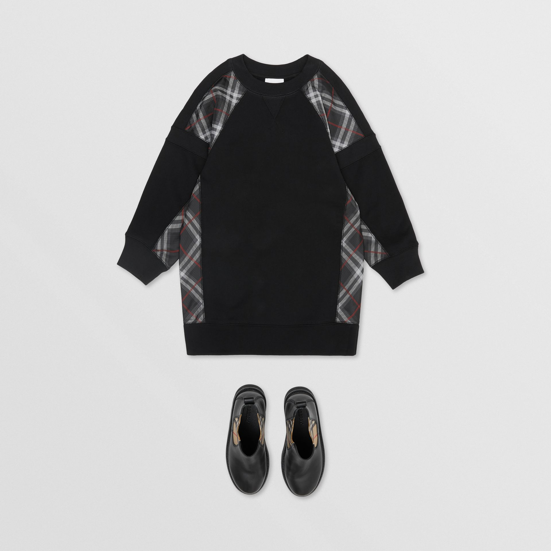 Vintage Check Panel Cotton Sweater Dress in Black | Burberry United Kingdom - gallery image 2