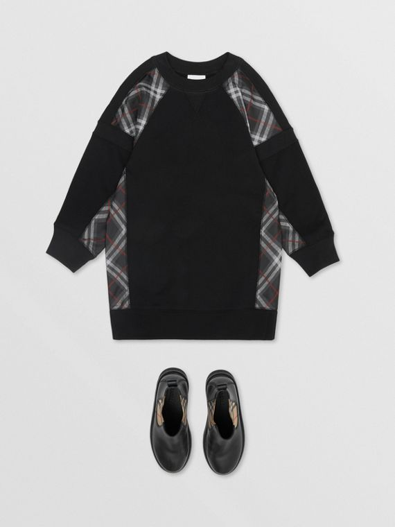 Vintage Check Panel Cotton Sweater Dress in Black