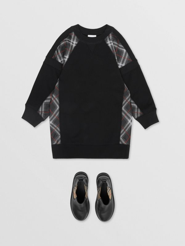Vintage Check Panel Cotton Sweater Dress in Black | Burberry Singapore - cell image 2