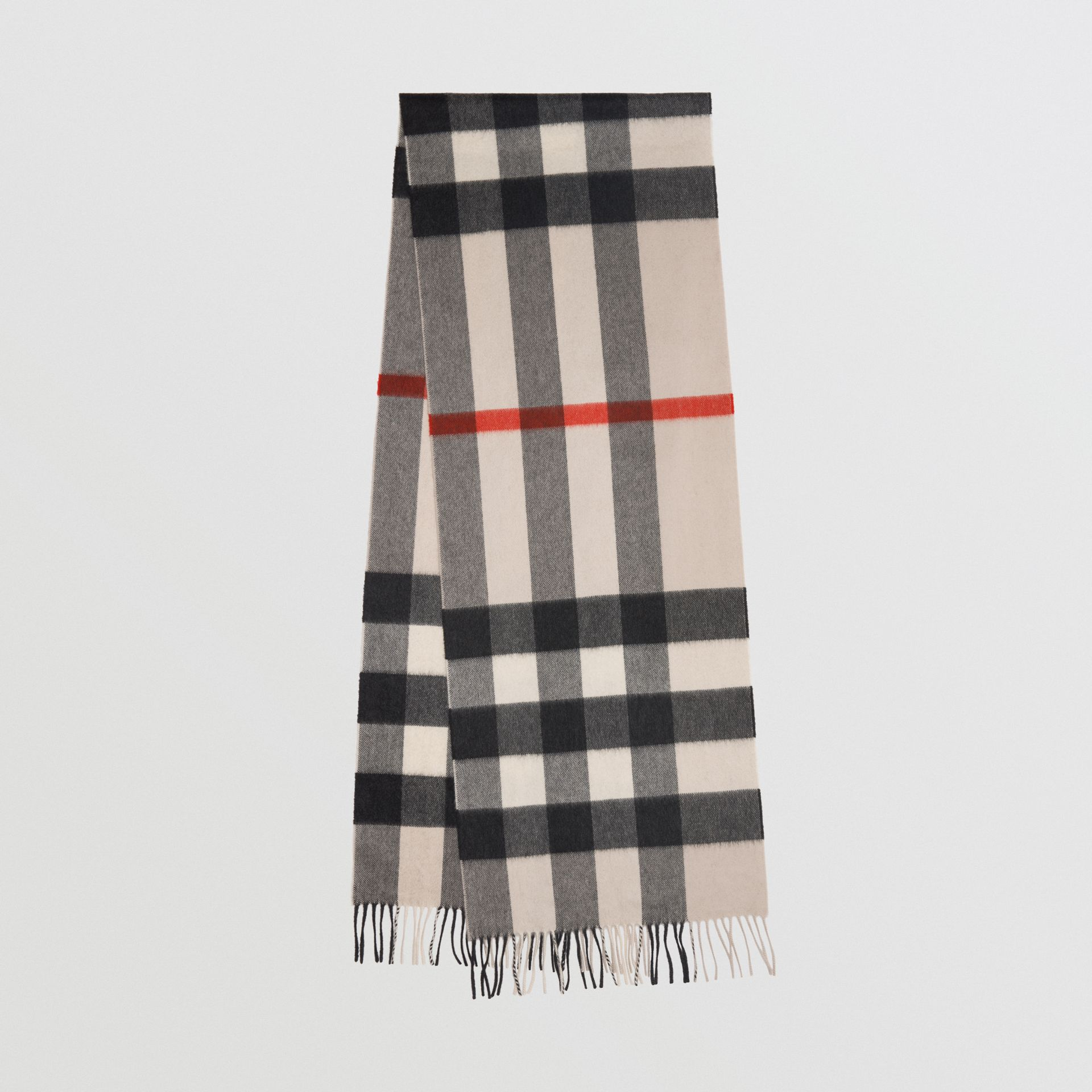 The Large Classic Cashmere Scarf in Check in Stone | Burberry Australia - gallery image 0