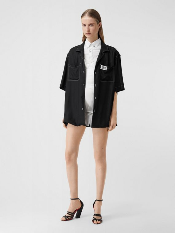 Logo Appliqué Oversized Double Shirt in Optic White