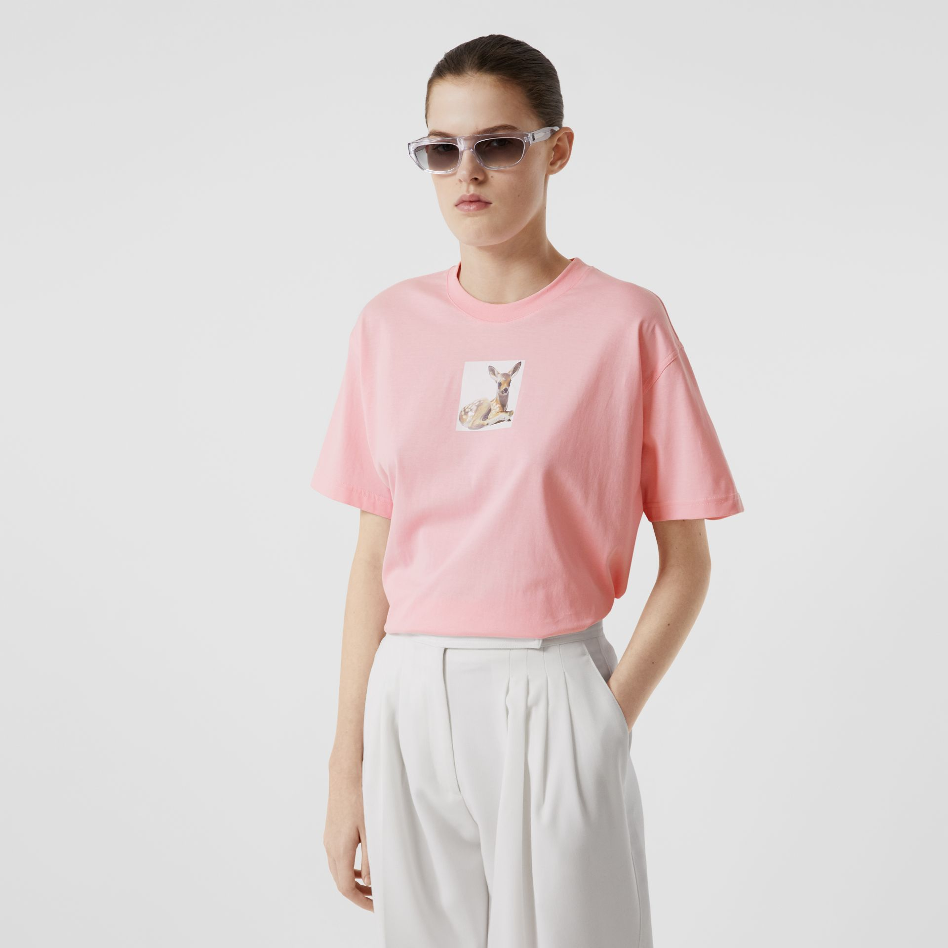 Deer Print Cotton T-shirt in Candy Pink - Women | Burberry United Kingdom - gallery image 4