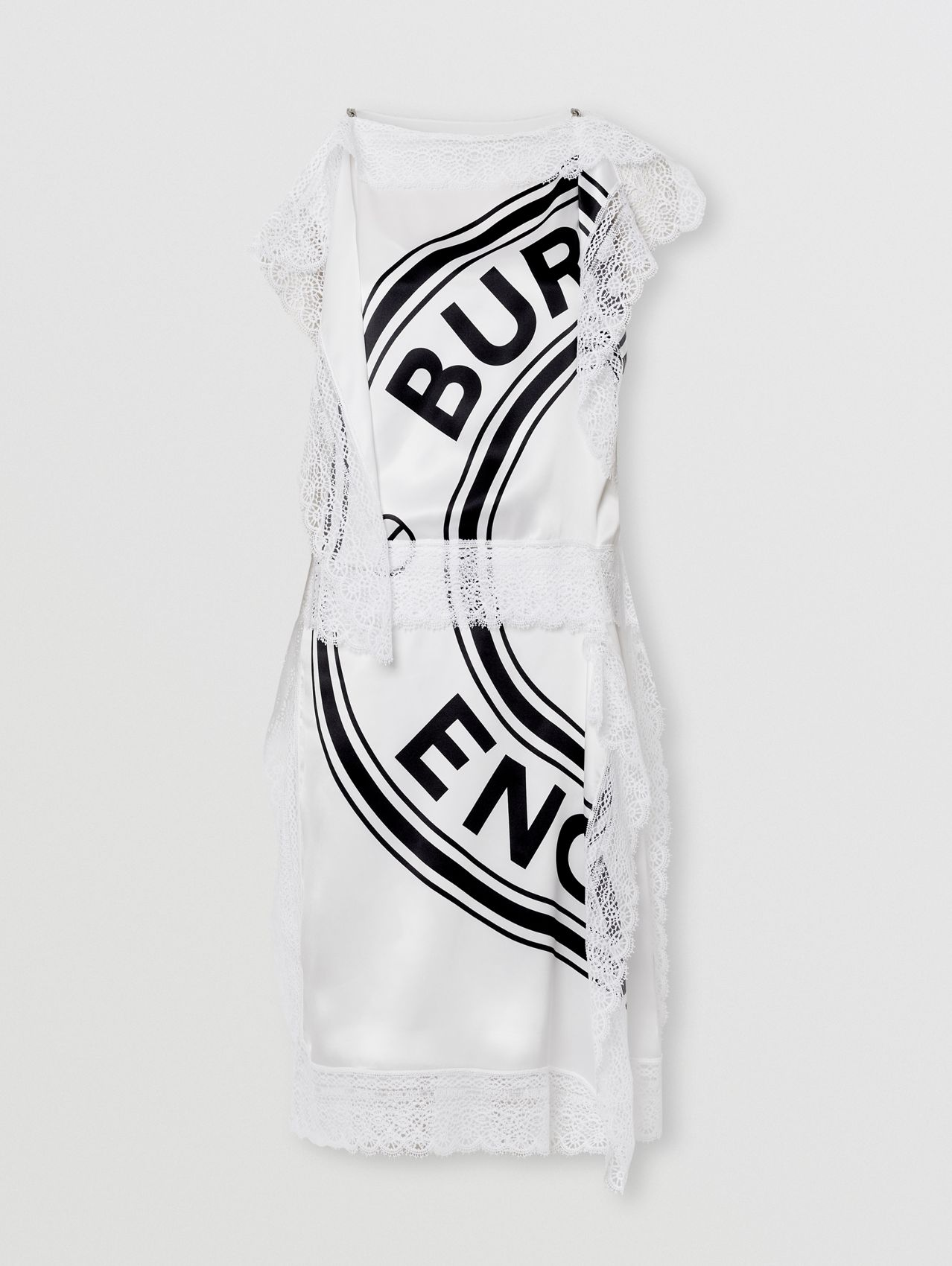 Lace Detail Logo Graphic Silk Dress in White/black