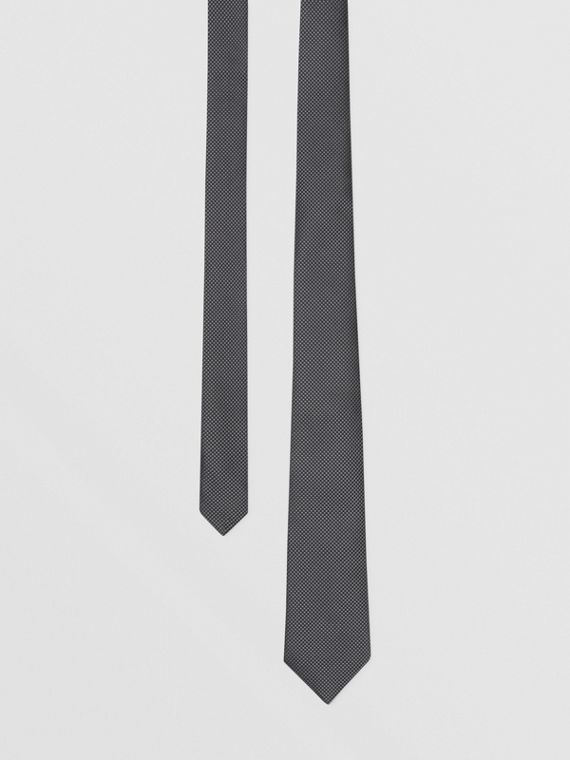 Classic Cut Woven Silk Tie in Storm Grey
