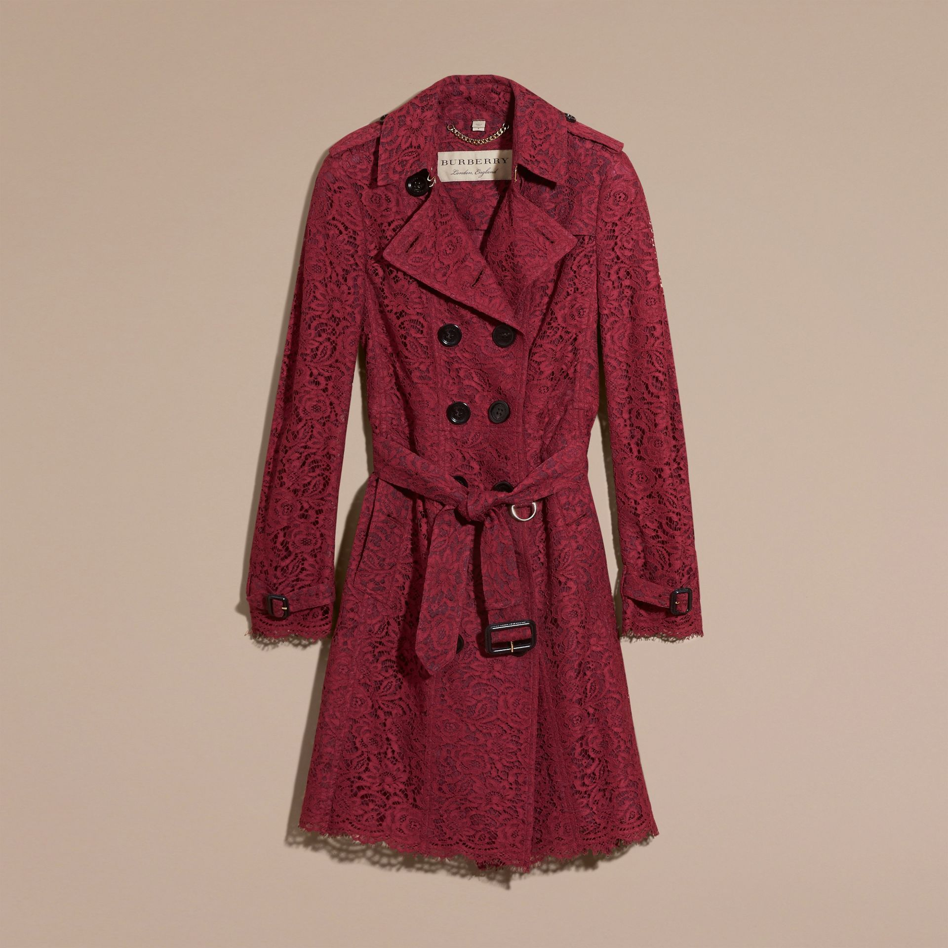 Dark crimson Italian Lace Scallop-hem Trench Coat - gallery image 4