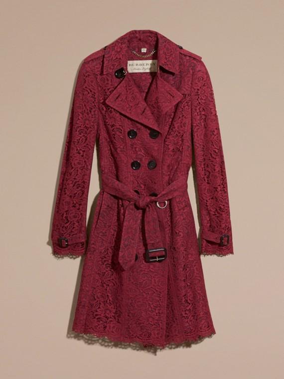 Cremisi scuro Trench coat in pizzo italiano con orli smerlati - cell image 3