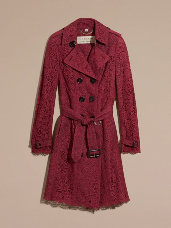 Cramoisi sombre Trench-coat en dentelle italienne avec ourlets festonnés - cell image 3