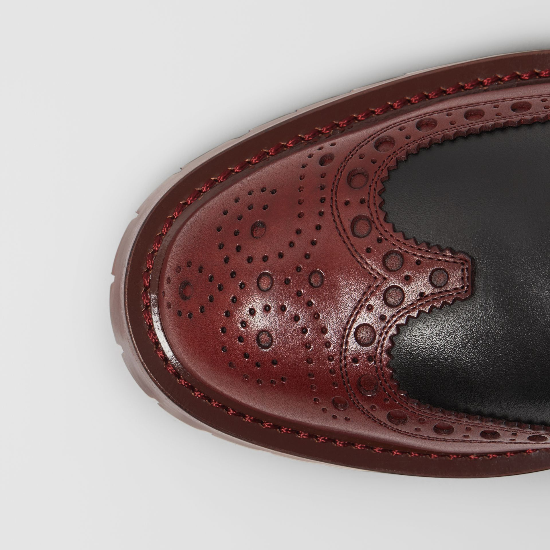 Brogue Detail Leather Derby Shoes in Black/antique Garnet - Men | Burberry - gallery image 1