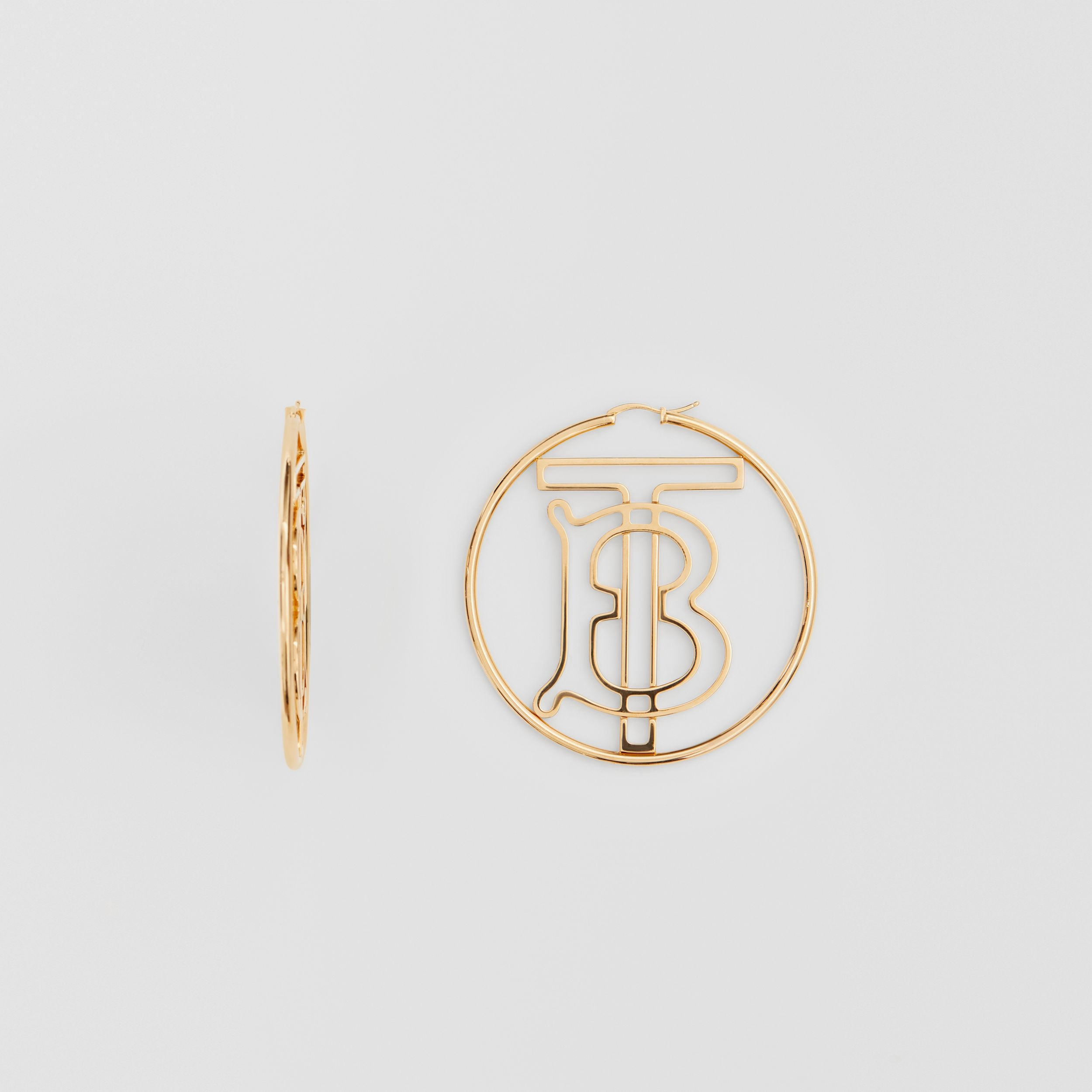 Gold-plated Monogram Motif Hoop Earrings in Light - Women | Burberry Hong Kong S.A.R. - 3