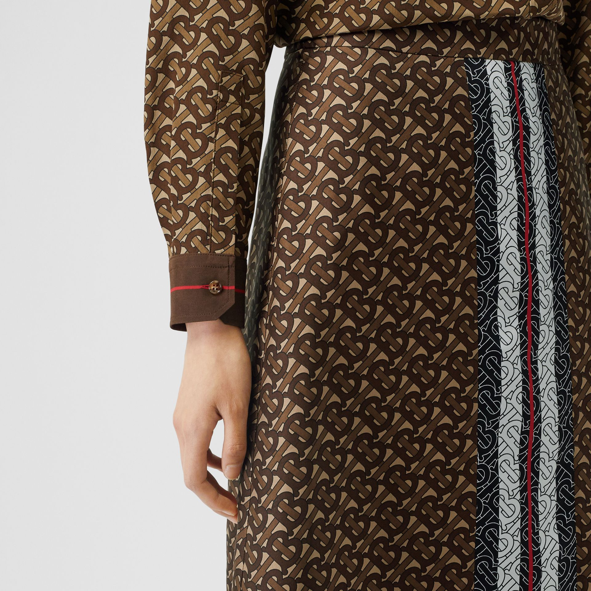 Monogram Stripe Print Silk Skirt in Bridle Brown - Women | Burberry United Kingdom - gallery image 1