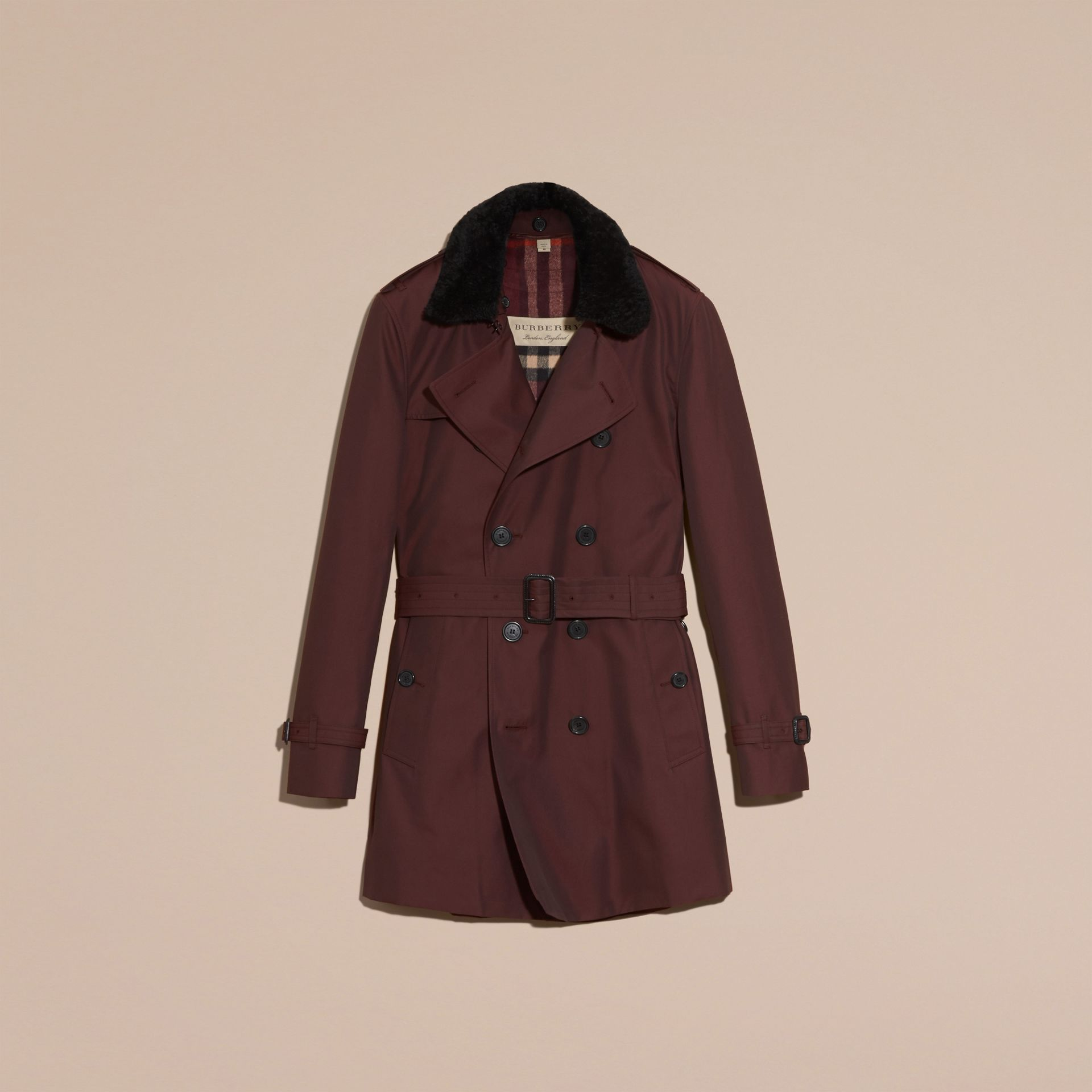Detachable Shearling Topcollar Cotton Gabardine Trench Coat with Warmer Mahogany Red - gallery image 4