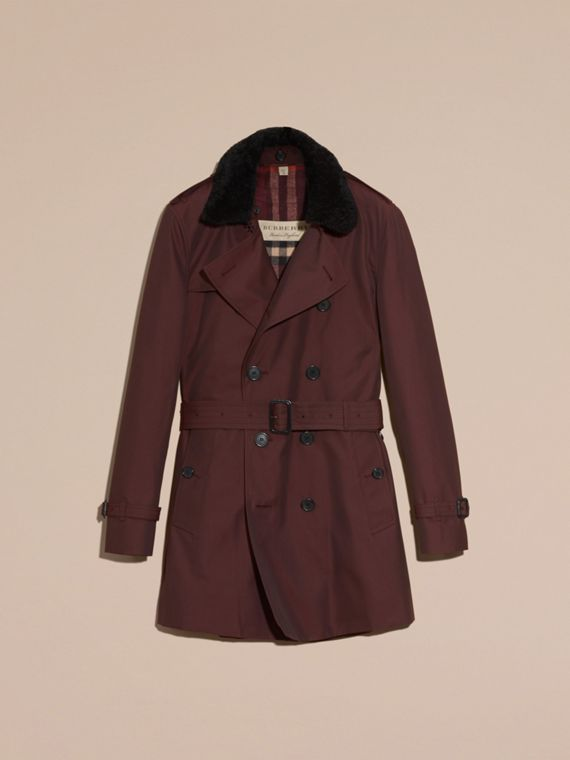Detachable Shearling Topcollar Cotton Gabardine Trench Coat with Warmer Mahogany Red - cell image 3