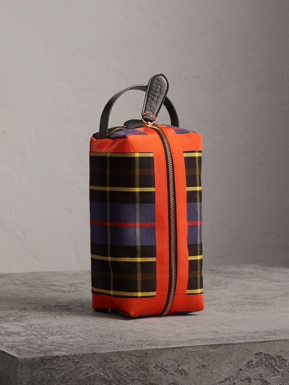 Tartan Cotton Pouch in Cobalt
