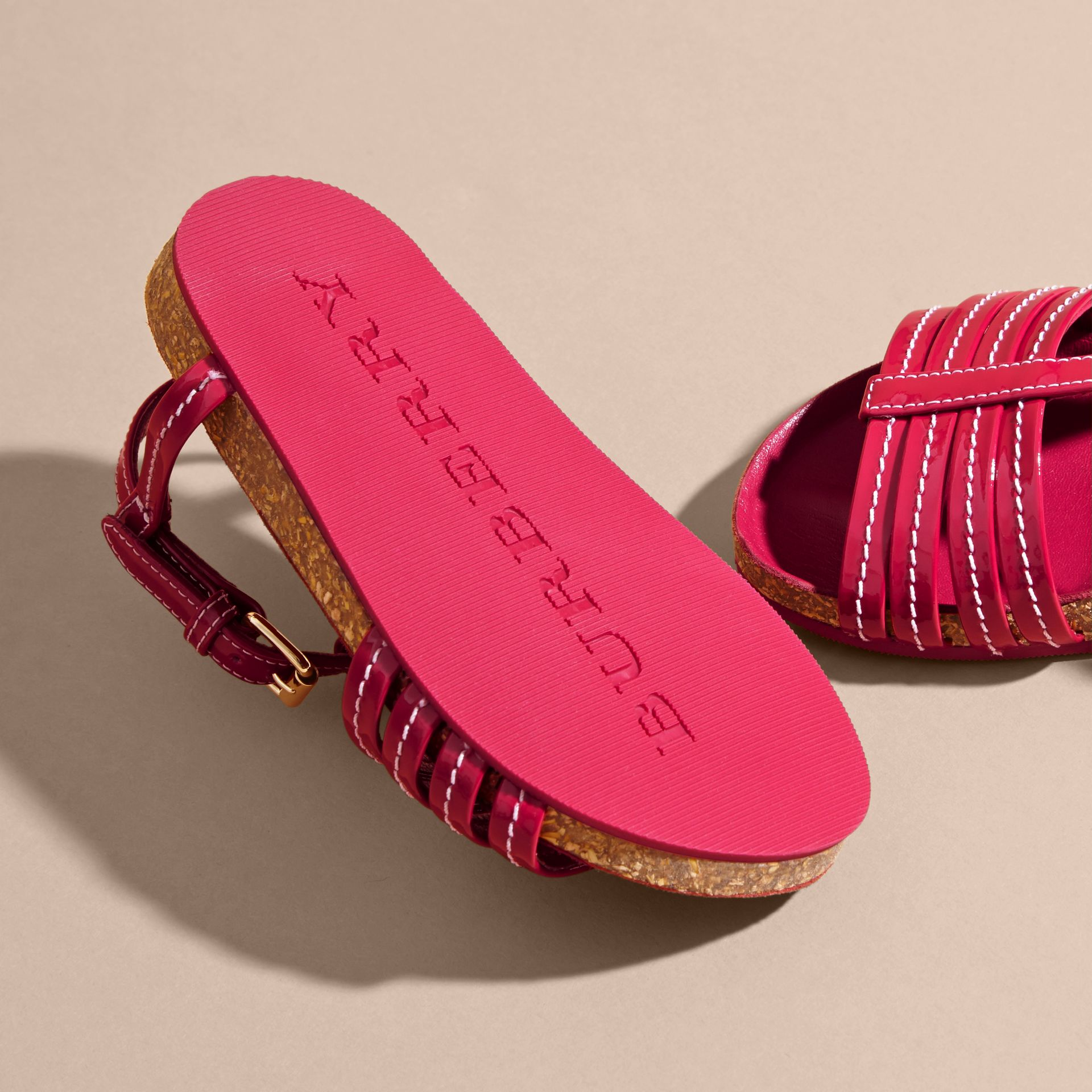 Cork Detail Patent Leather Sandals in Berry Pink | Burberry United Kingdom - gallery image 2