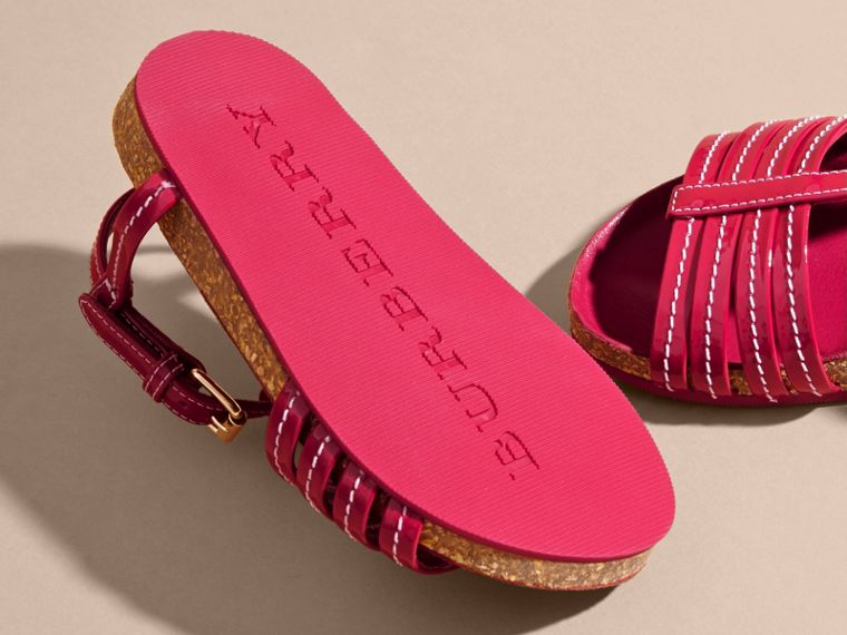 Cork Detail Patent Leather Sandals in Berry Pink | Burberry - cell image 1