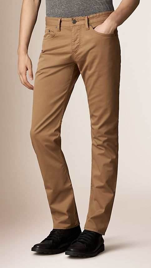 Seed brown Straight Fit Stretch-Cotton Trousers - Image 1