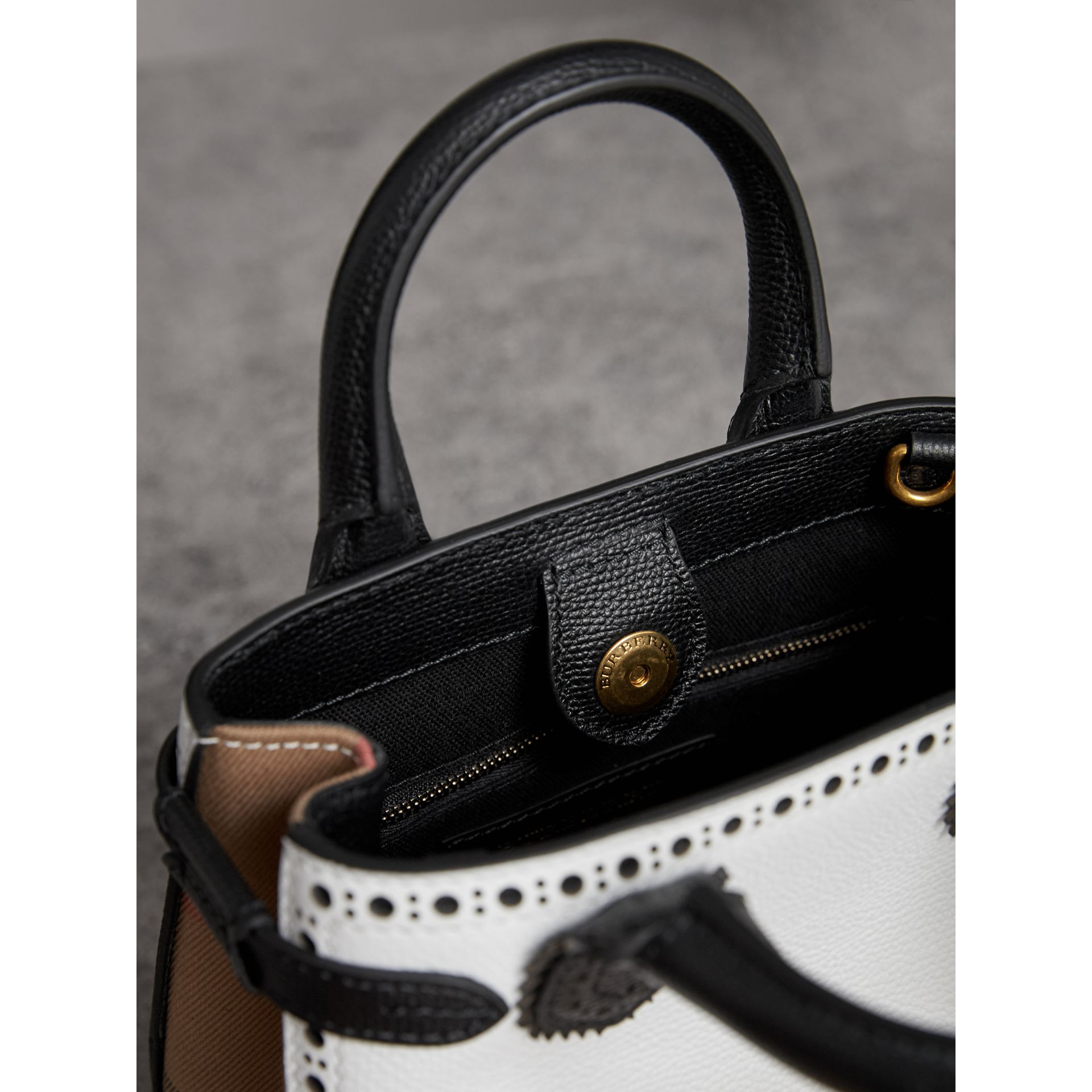 The Baby Banner in Brogue Detail Leather in Chalk White/black - Women | Burberry Australia - gallery image 5