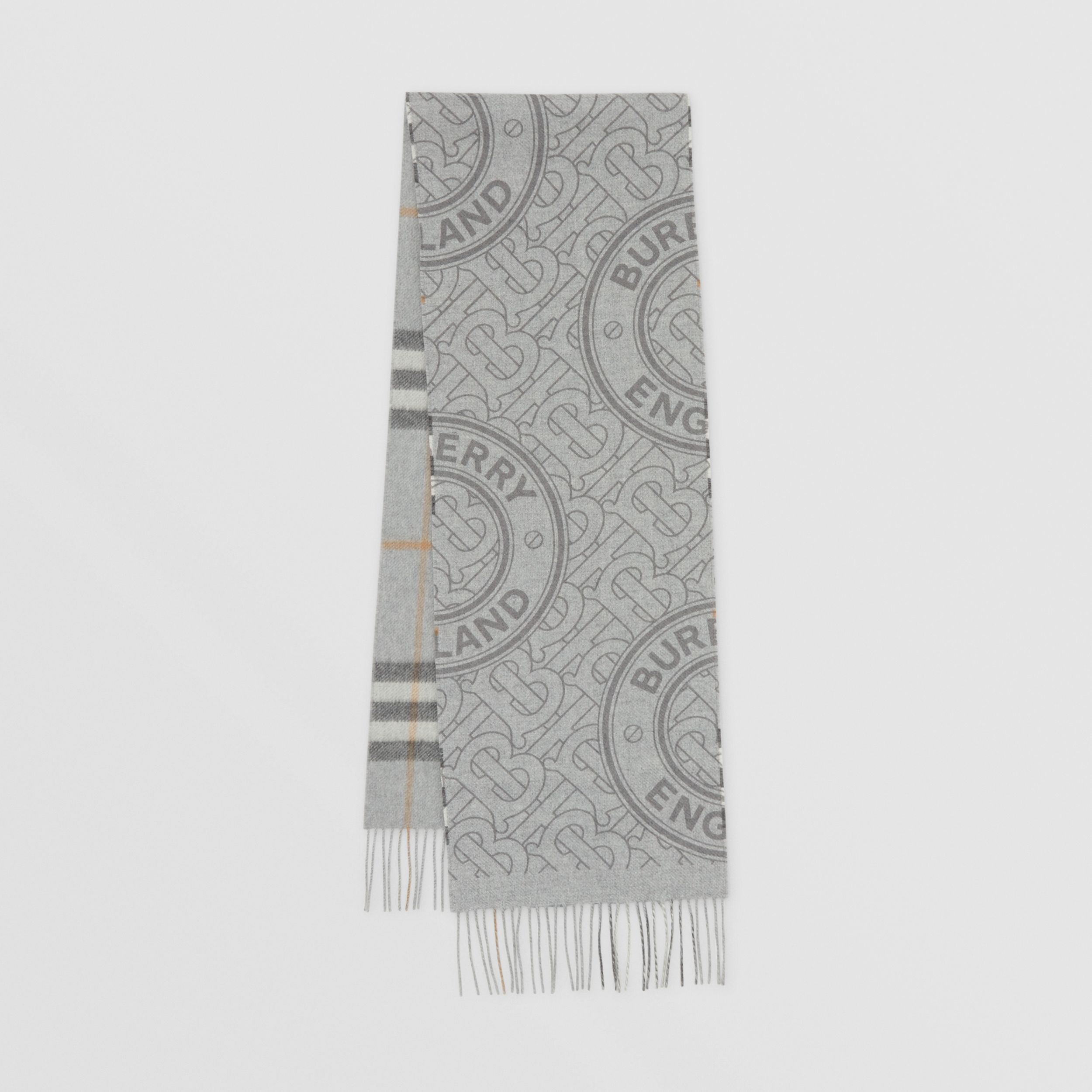 Reversible Check and Monogram Cashmere Scarf in Light Grey | Burberry - 1