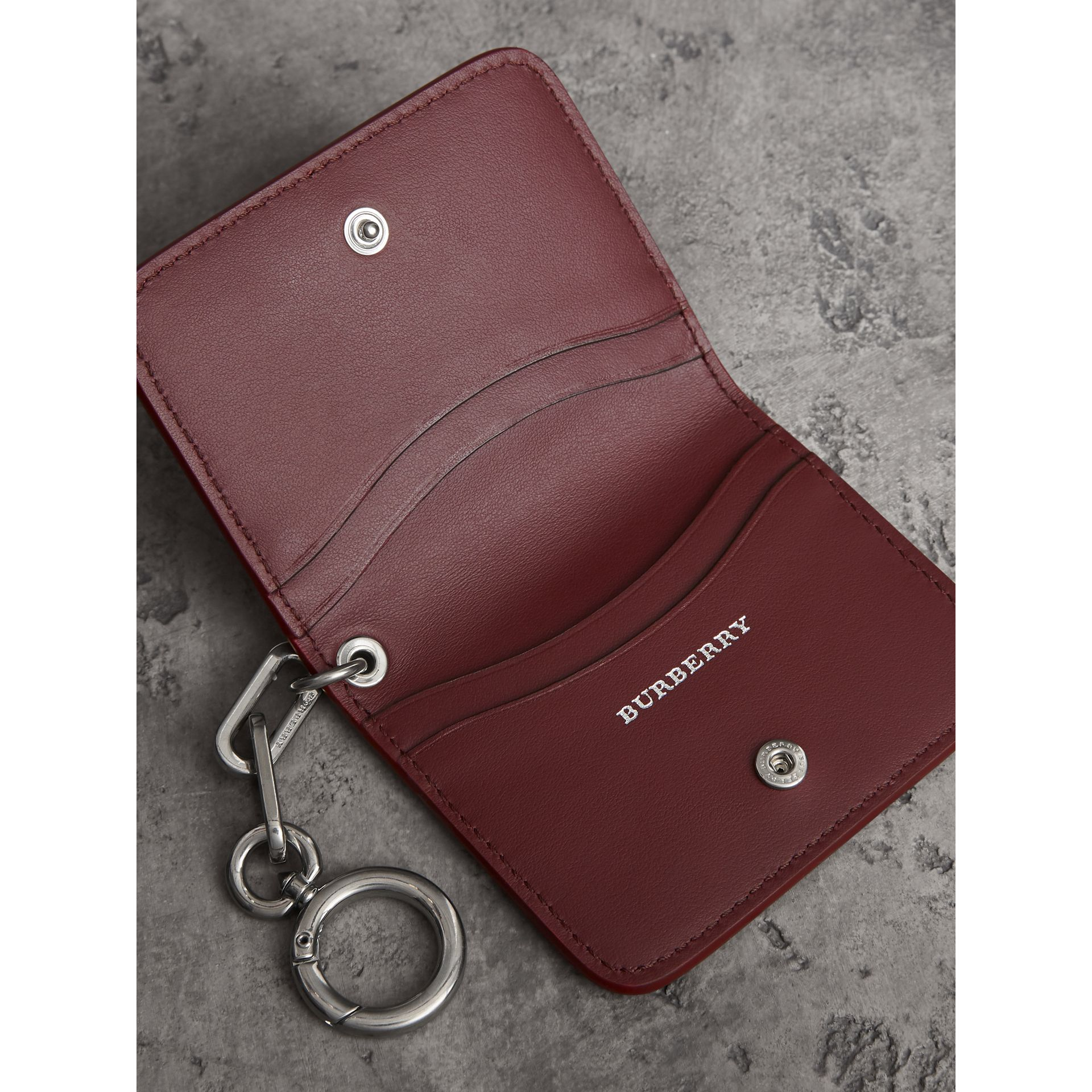 Link Detail Leather ID Card Case Charm in Bright Red | Burberry - gallery image 3