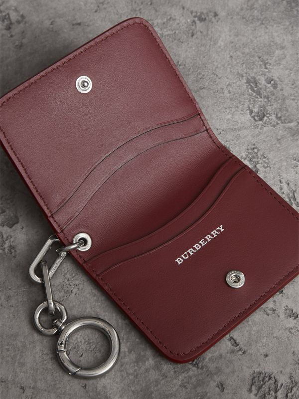 Link Detail Leather ID Card Case Charm in Bright Red | Burberry - cell image 3