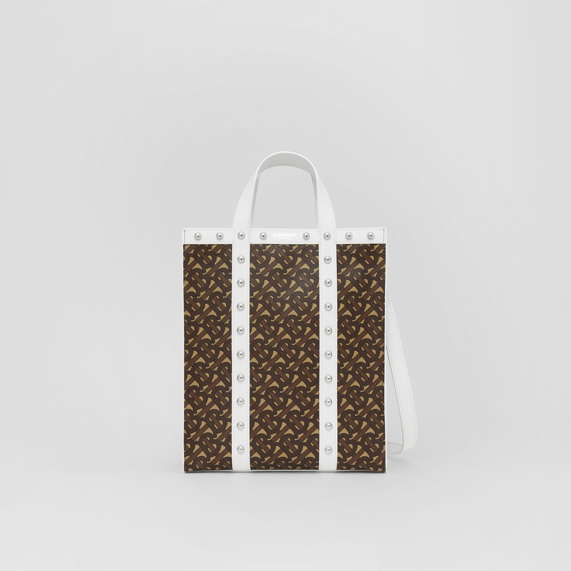 Small Monogram Print E-canvas Portrait Tote Bag in White - Women | Burberry Hong Kong S.A.R - gallery image 0
