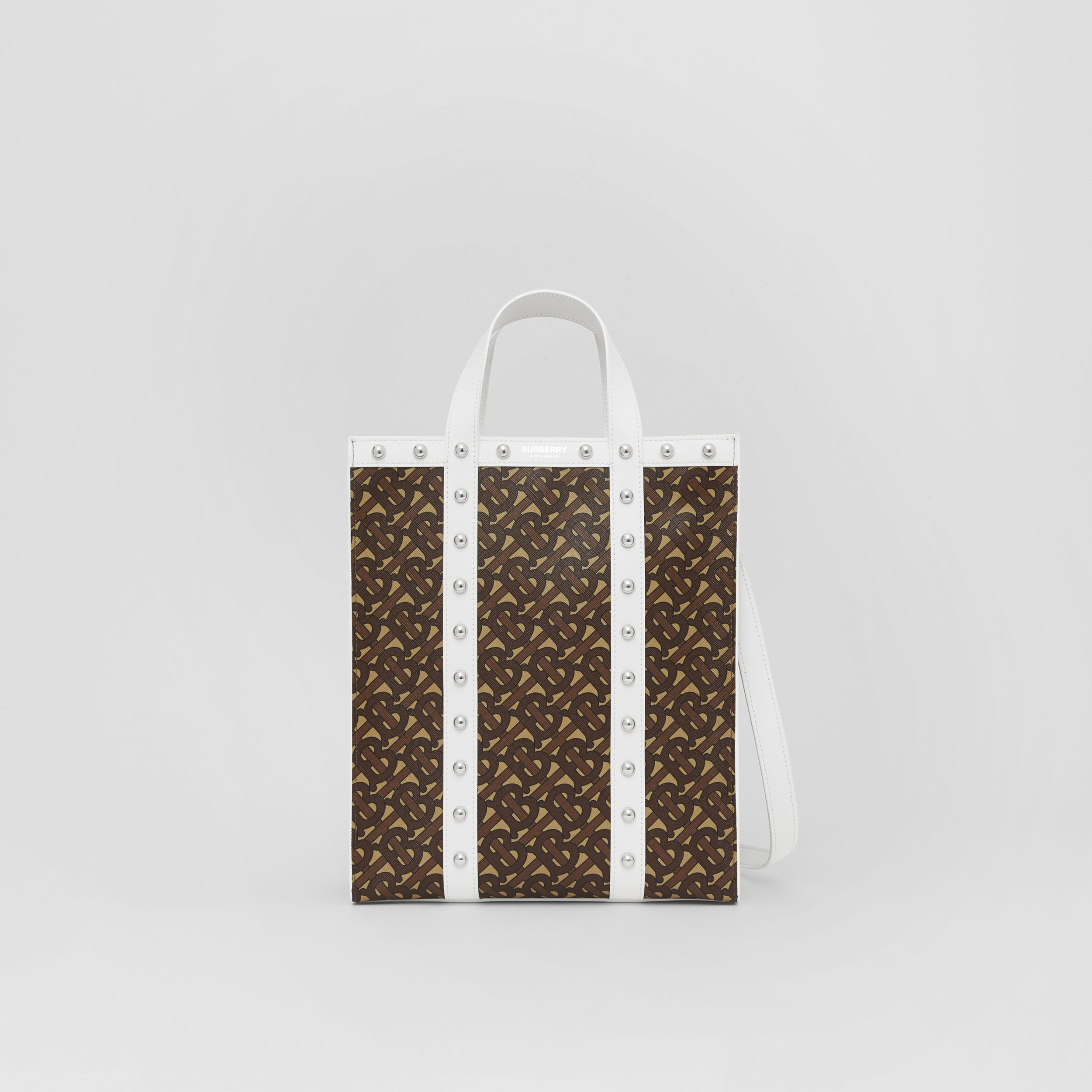Small Monogram Print E-canvas Portrait Tote Bag in White - Women | Burberry - 1
