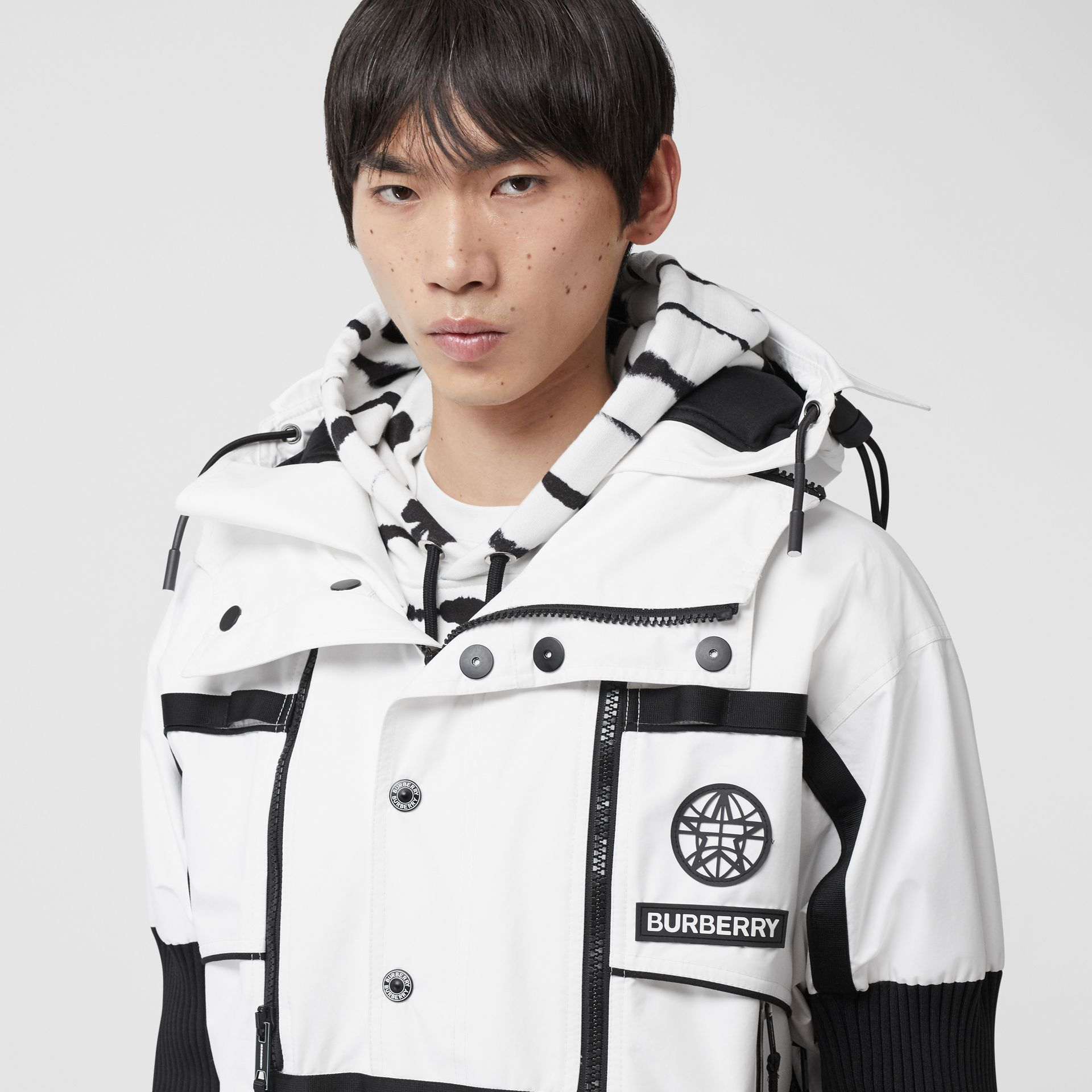 Globe Graphic Nylon Reconstructed Track Jacket in Optic White | Burberry - gallery image 7