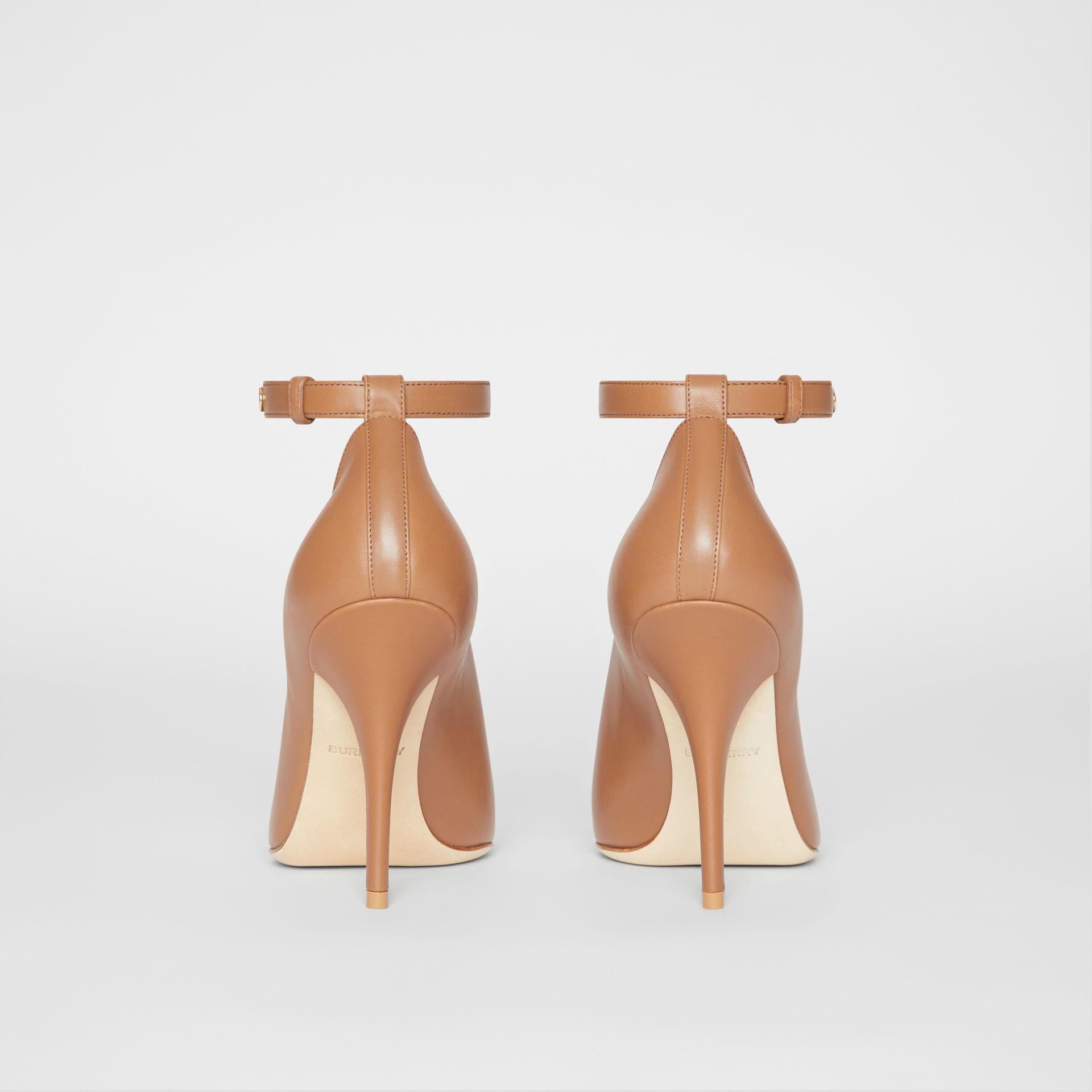 Leather Peep-toe Pumps in Amber Brown - Women | Burberry - gallery image 3