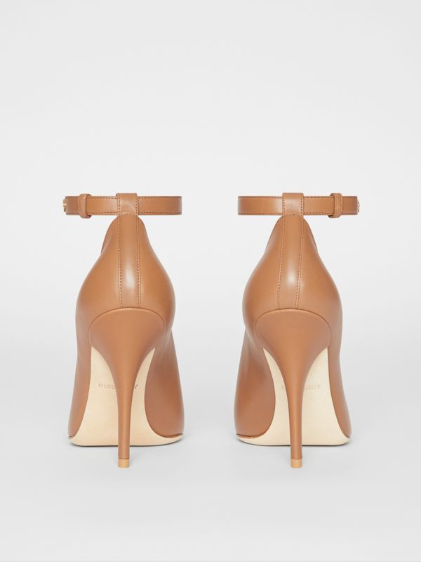 Leather Peep-toe Pumps in Amber Brown - Women | Burberry - cell image 3