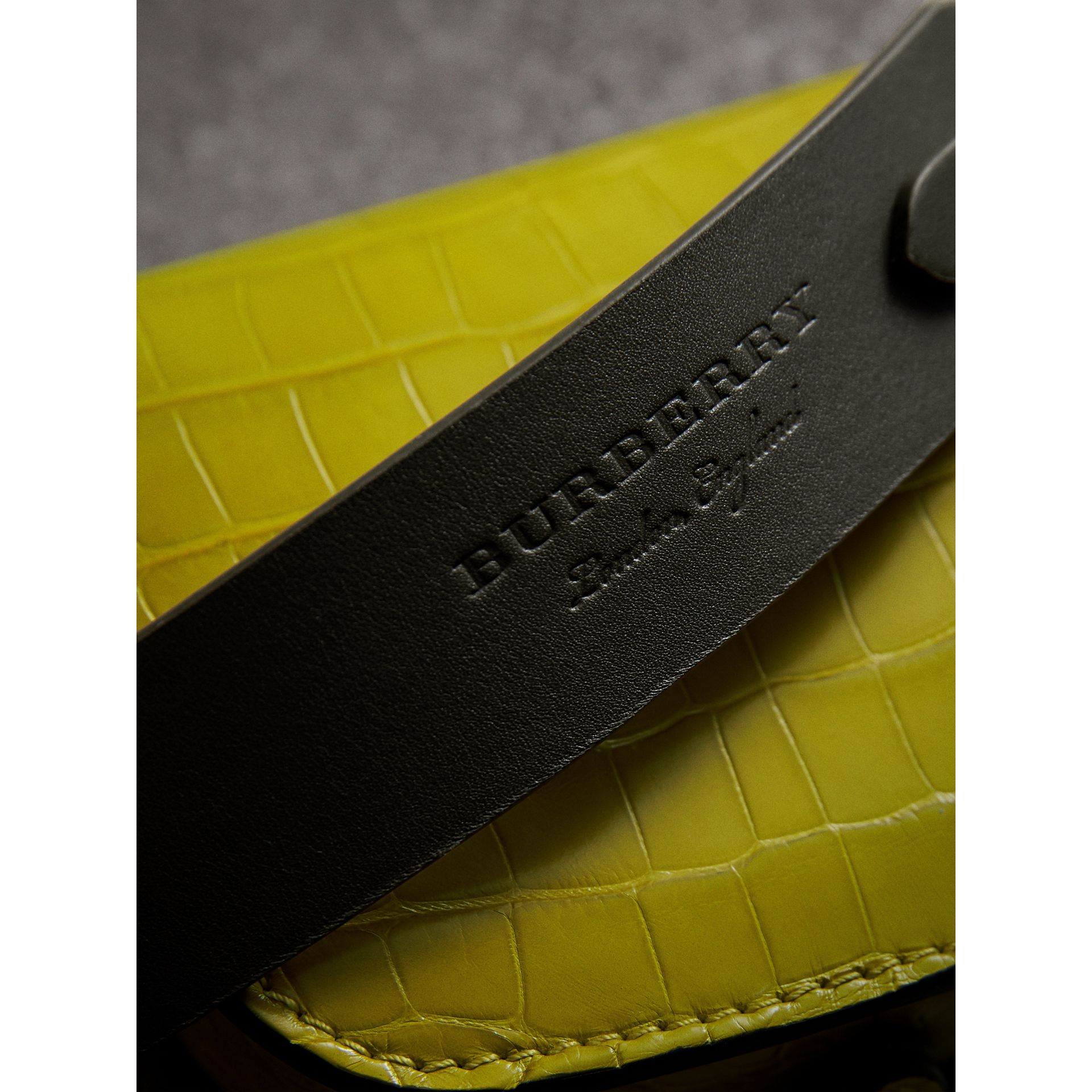 The Pocket Satchel in Alligator in Dark Lime | Burberry - gallery image 2