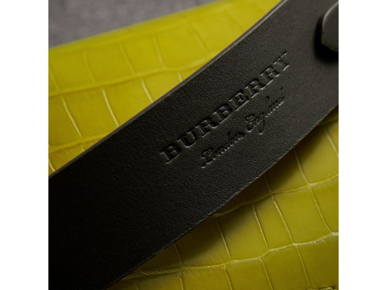 The Pocket Satchel in Alligator in Dark Lime - Women | Burberry Singapore - cell image 1