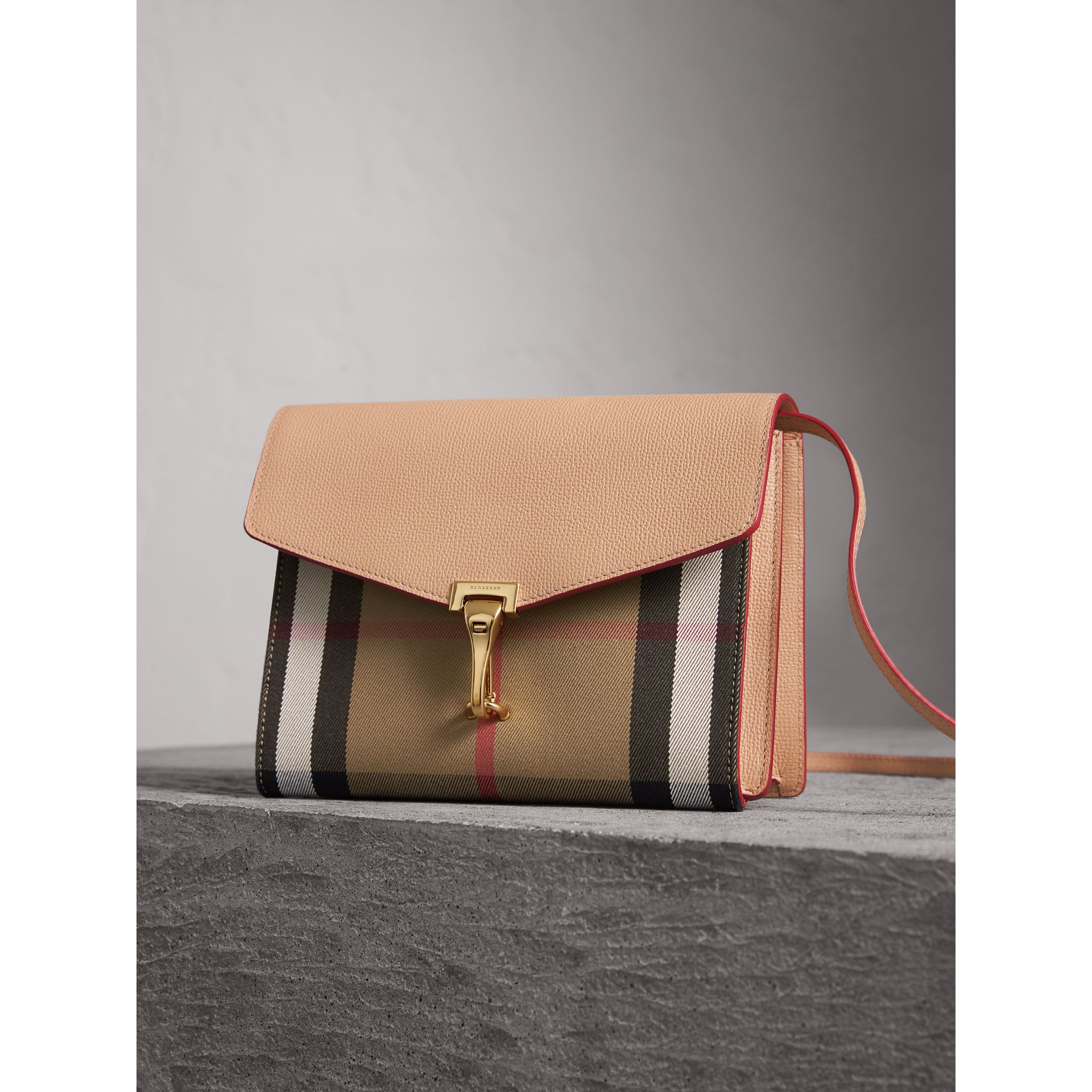 Small Leather and House Check Crossbody Bag in Pale Apricot - Women | Burberry - gallery image 6