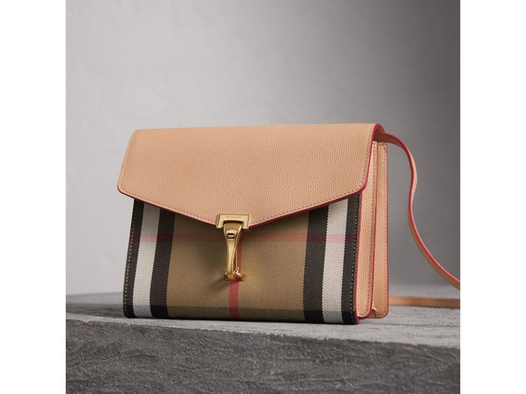 Small Leather and House Check Crossbody Bag in Pale Apricot - Women | Burberry - cell image 4