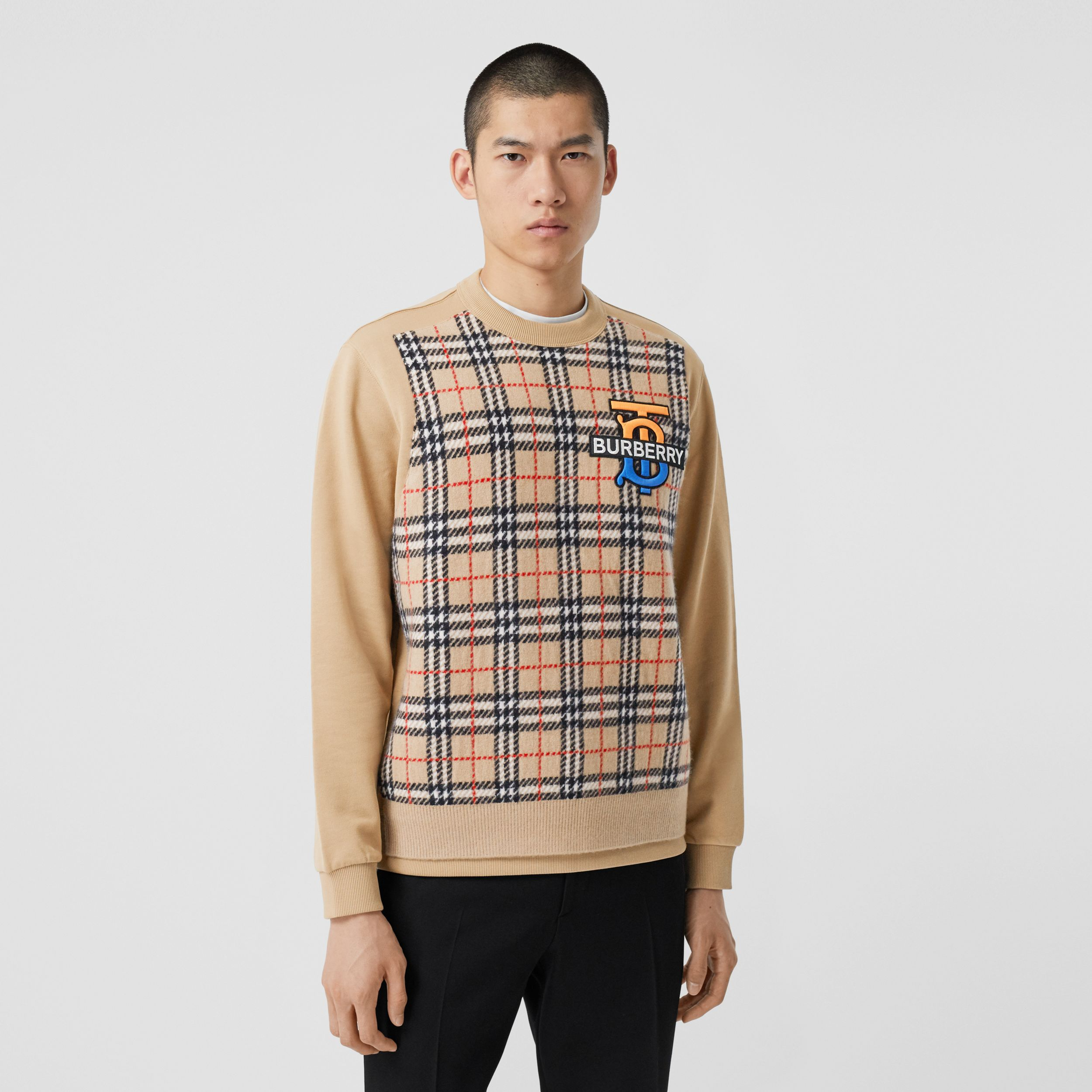 Monogram Motif Check Cashmere Panel Sweatshirt in Archive Beige - Men | Burberry - 1