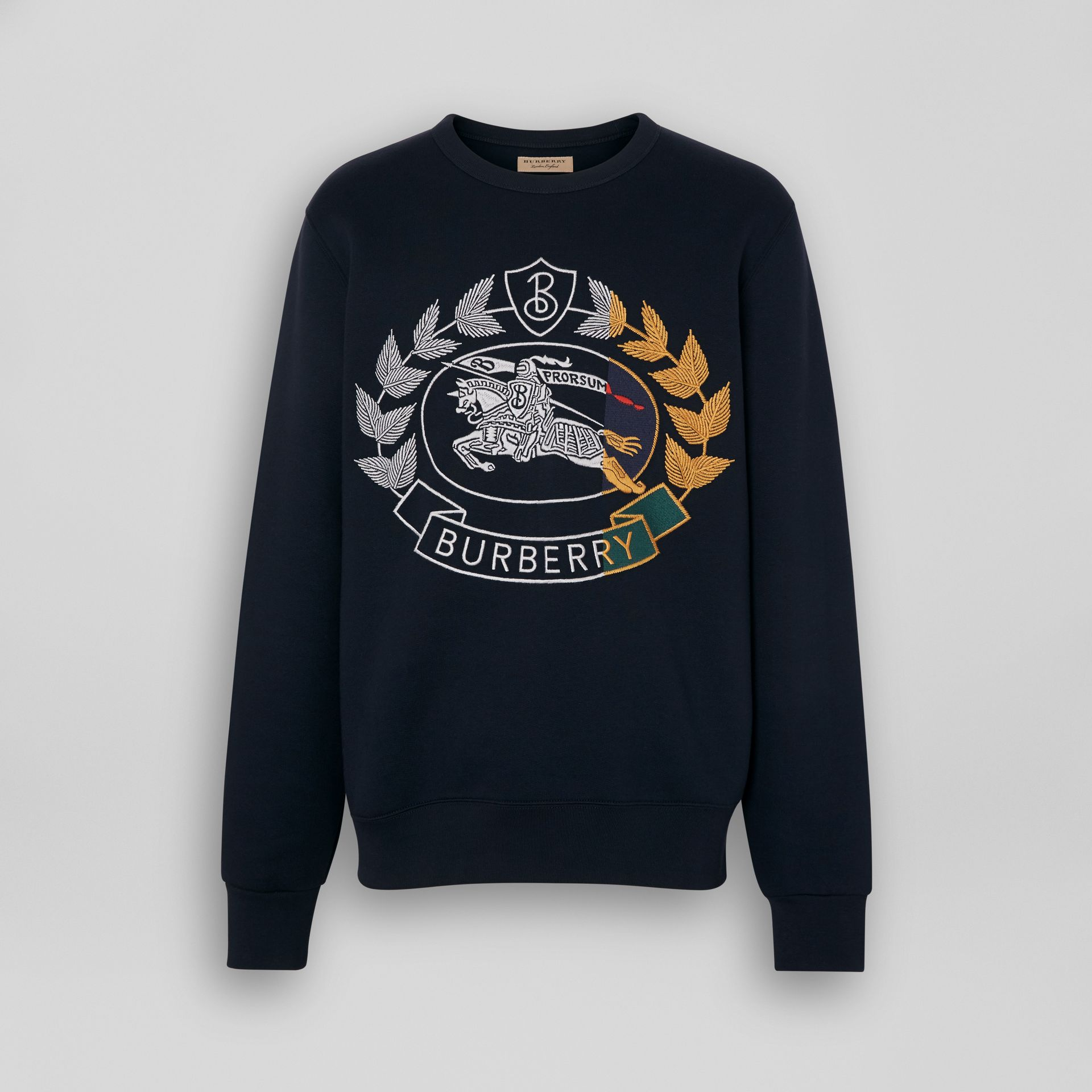 Embroidered Crest Jersey Sweatshirt in Navy - Men | Burberry - gallery image 3