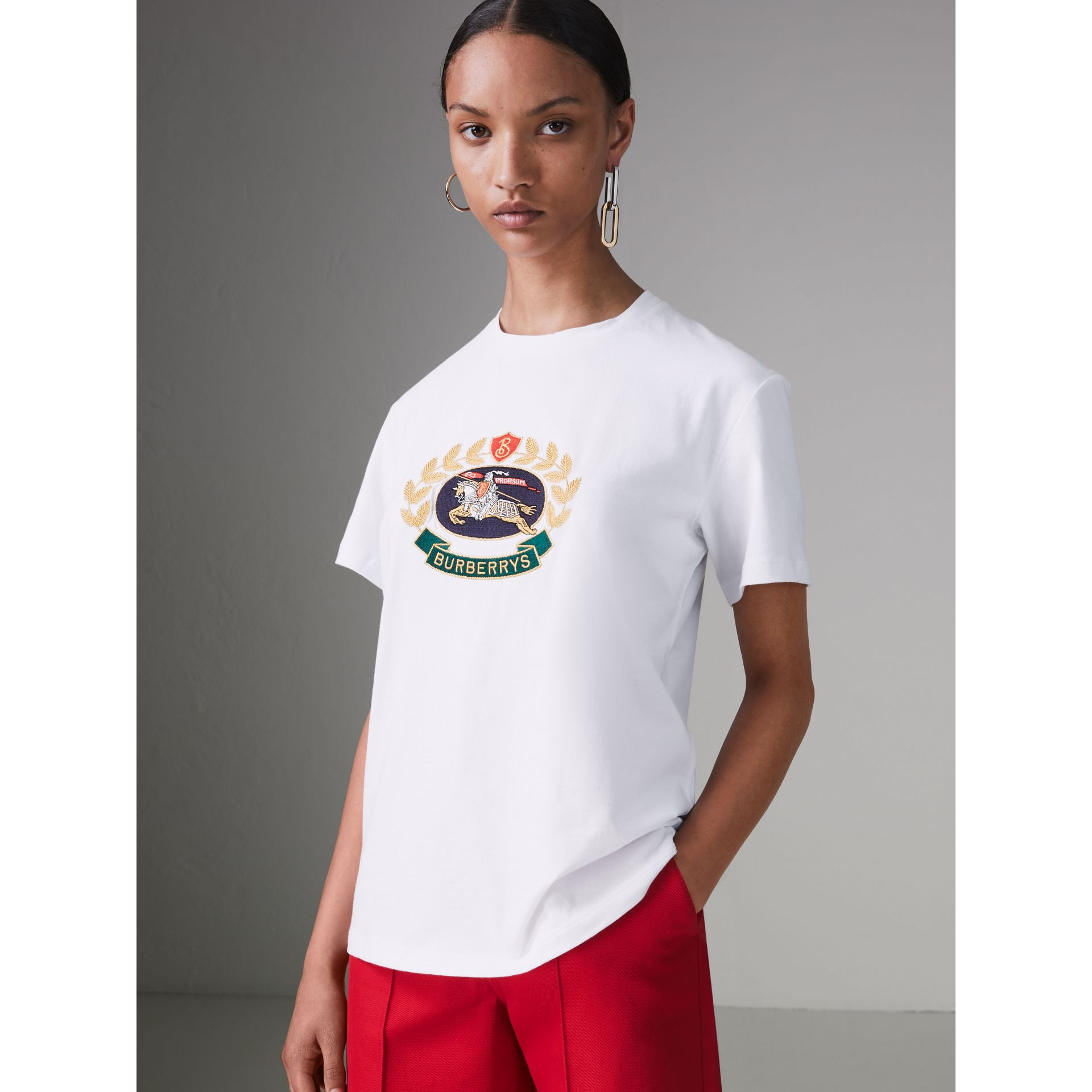 Embroidered Archive Logo Cotton T-shirt in White - Women | Burberry - gallery image 4