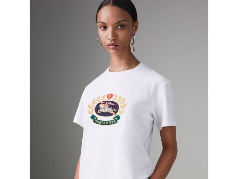 Embroidered Archive Logo Cotton T-shirt in White - Women | Burberry - cell image 4