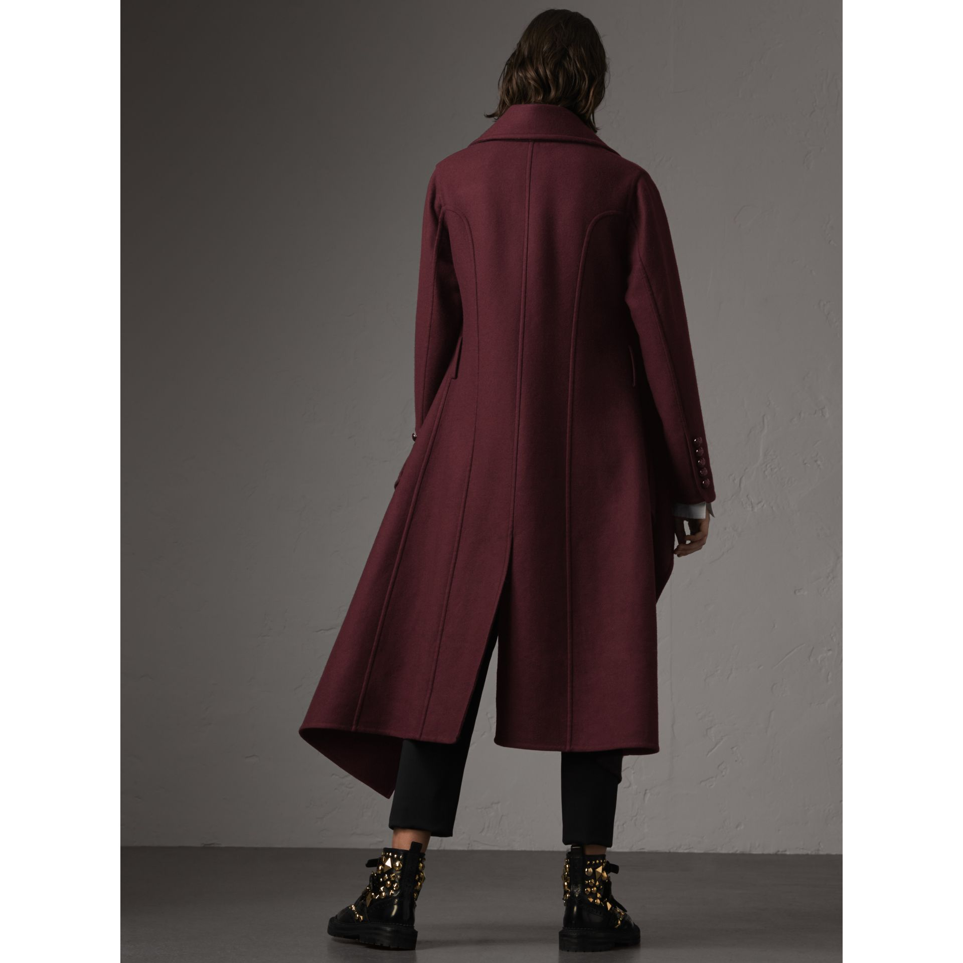 Double-faced Wool Cashmere Wrap Coat in Deep Claret - Women | Burberry Singapore - gallery image 3