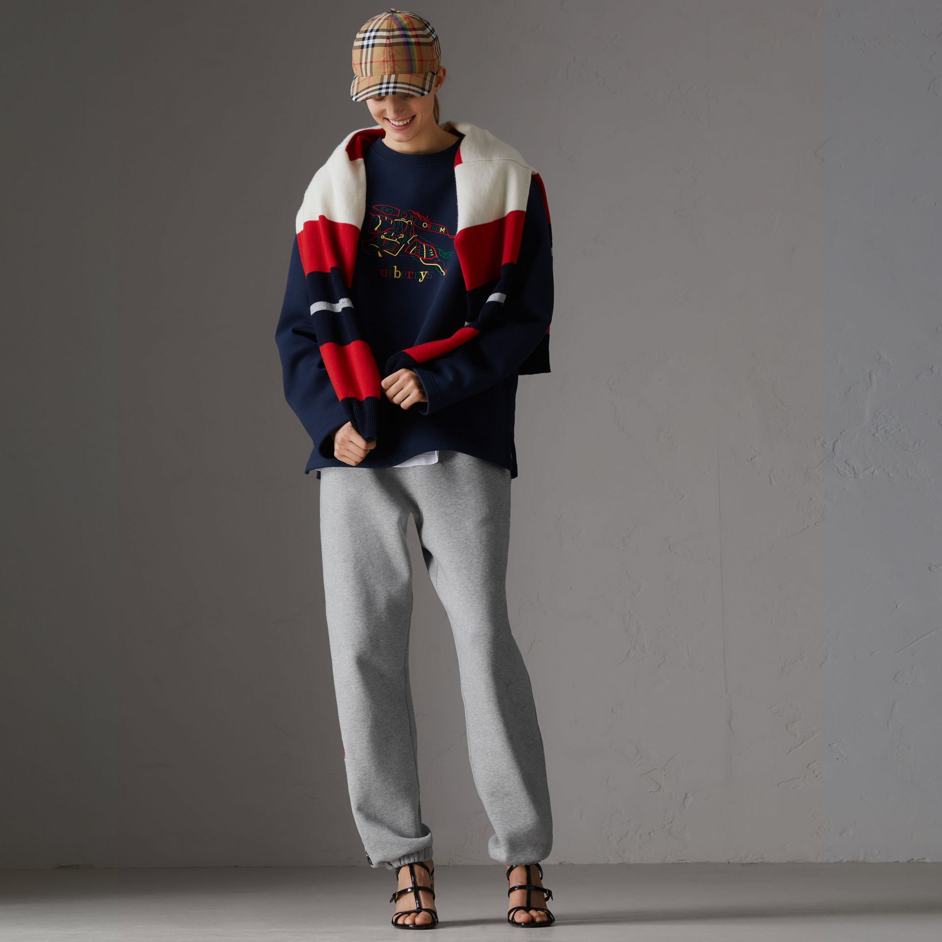 Sweat-shirt en jersey revisité (Bleu Foncé) - Femme | Burberry - photo de la galerie 0