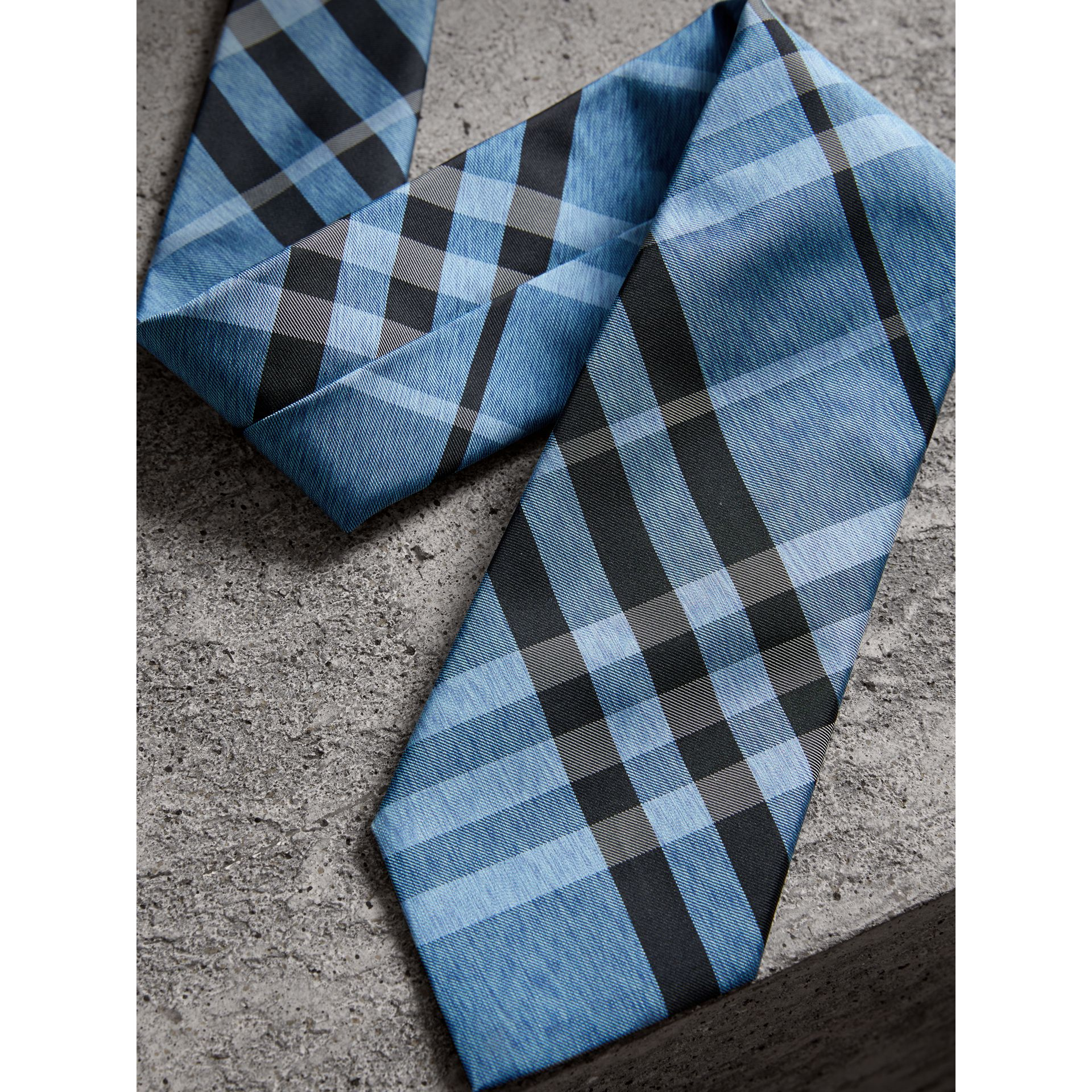 Modern Cut Check Silk Tie in Steel Blue - Men | Burberry - gallery image 2