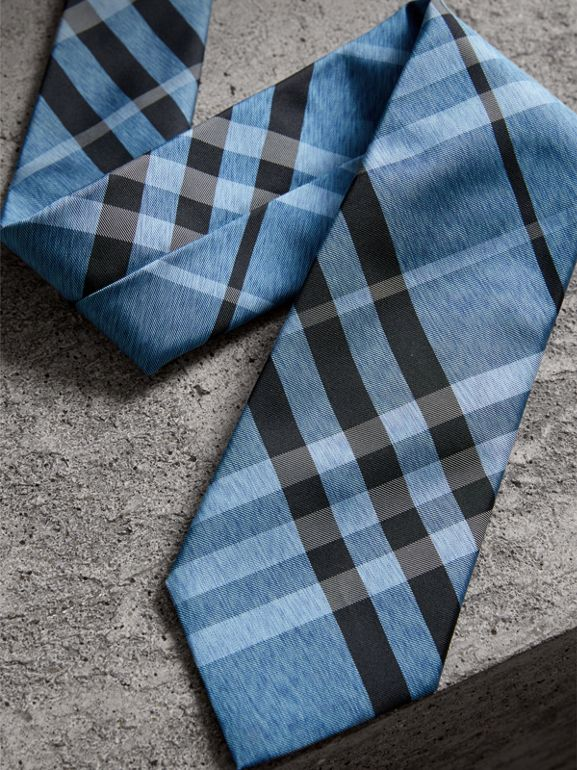 Modern Cut Check Silk Tie in Steel Blue - Men | Burberry - cell image 1