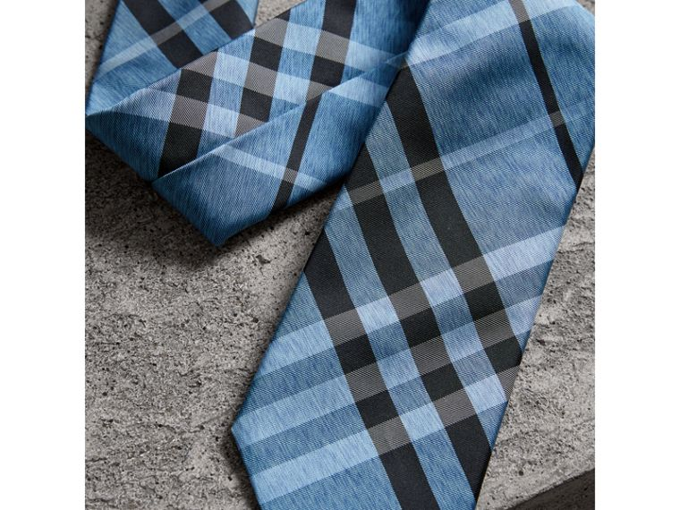 Modern Cut Check Silk Tie in Steel Blue - Men | Burberry United Kingdom - cell image 1