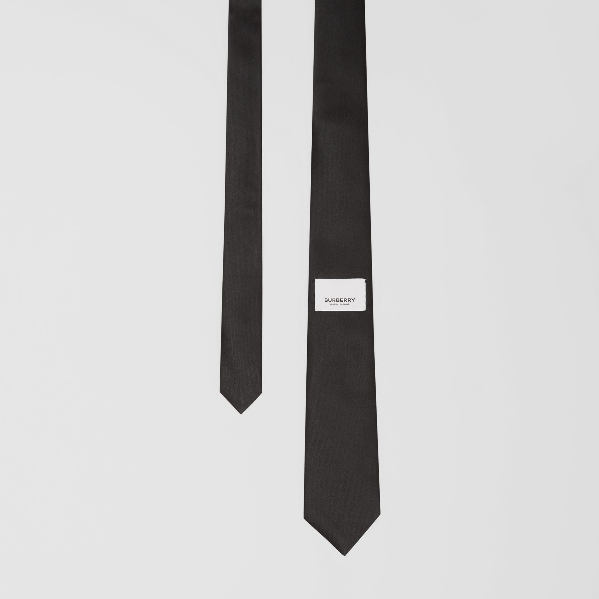 Classic Cut Logo Appliqué Silk Satin Tie in Black - Men | Burberry - gallery image 0