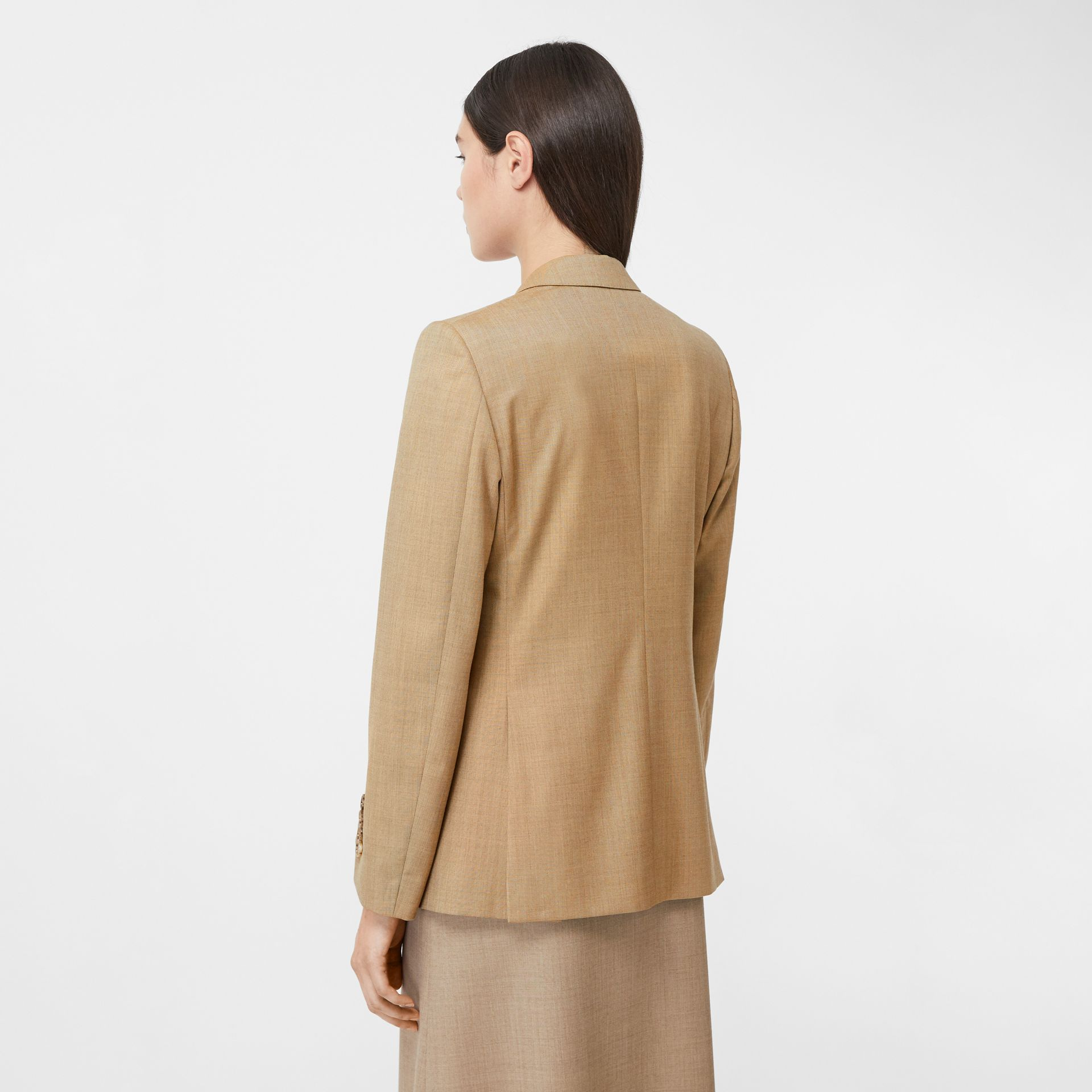 Link Detail Wool Cashmere Blazer in Pecan Melange - Women | Burberry United Kingdom - gallery image 2