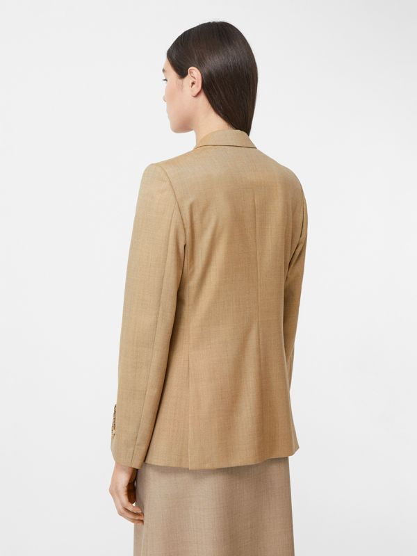 Link Detail Wool Cashmere Blazer in Pecan Melange - Women | Burberry United Kingdom - cell image 2