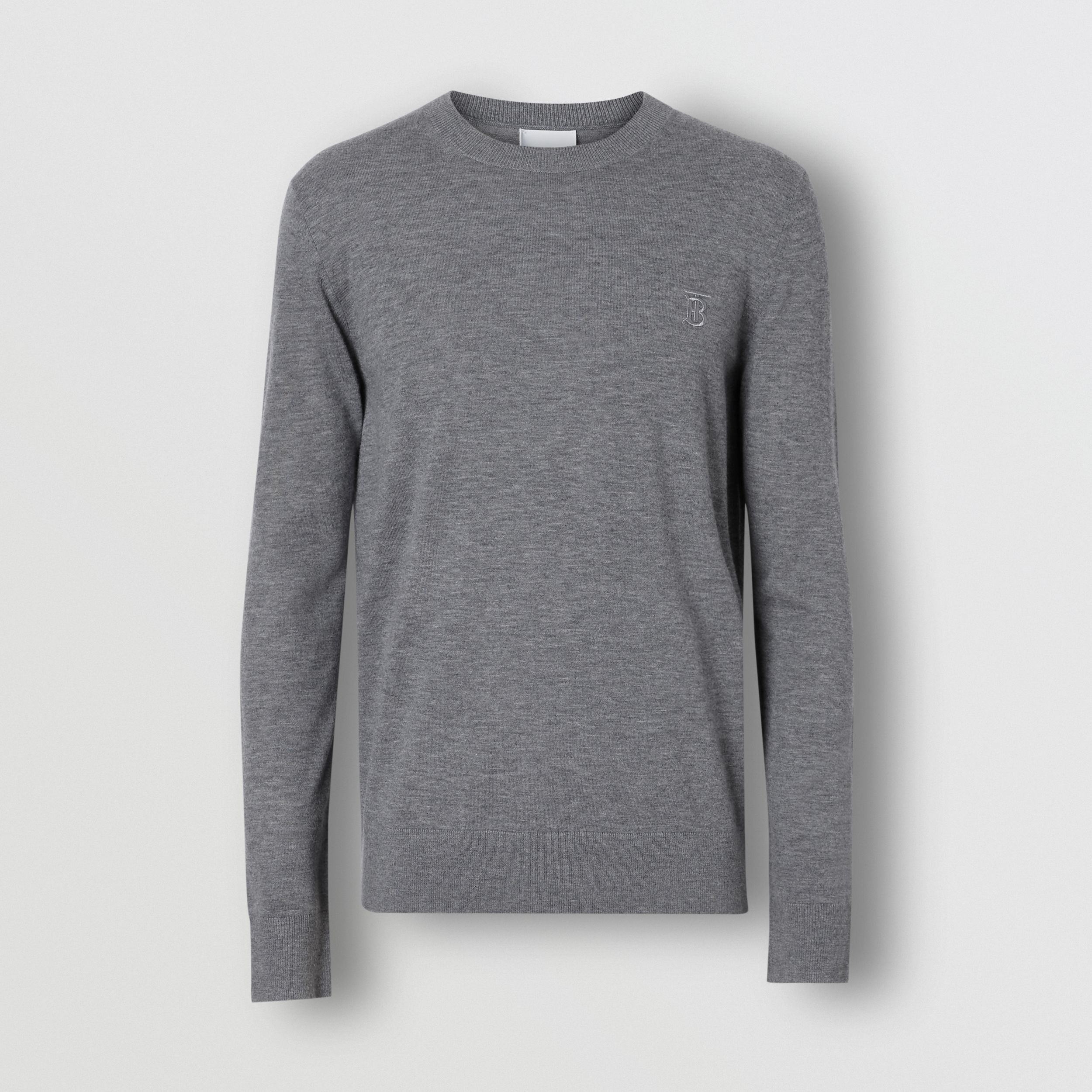 Monogram Motif Cashmere Sweater in Pale Grey Melange - Men | Burberry - 4